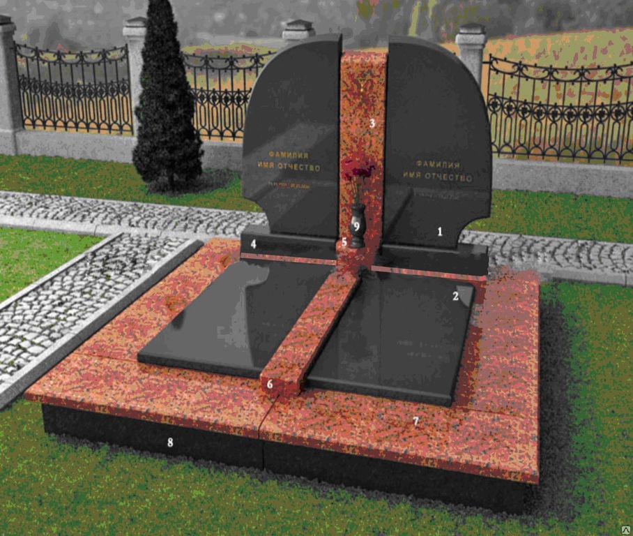 Памятники черно красный гранит