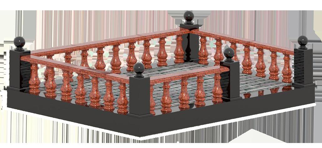 Гранитная ограда из красного гранита