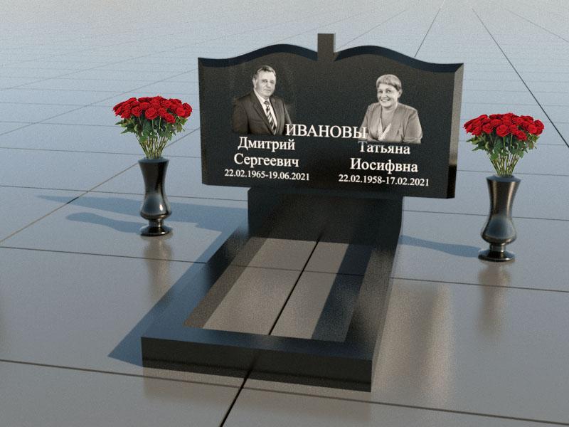 Памятник на двоих из черного гранита