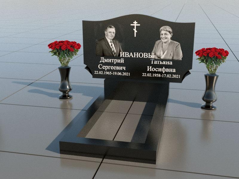 Памятник для двоих из черного гранита